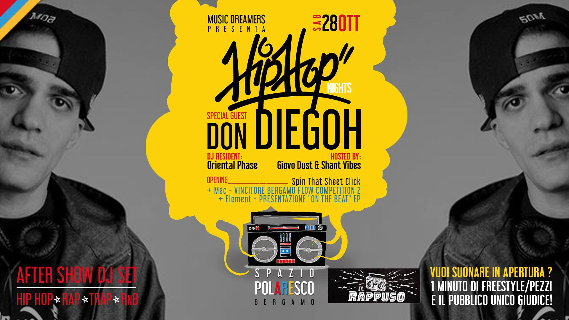 Photo of Il Rappuso in collaborazione con Music Dreamers presenta Hip Hop Night Bergamo Don Diegoh
